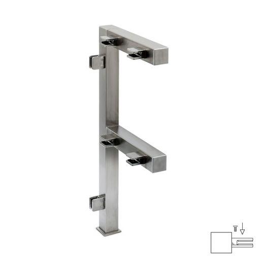 Hustenschutz Pfosten 20x20 - 20-13320 links - Edelstahl matt Design
