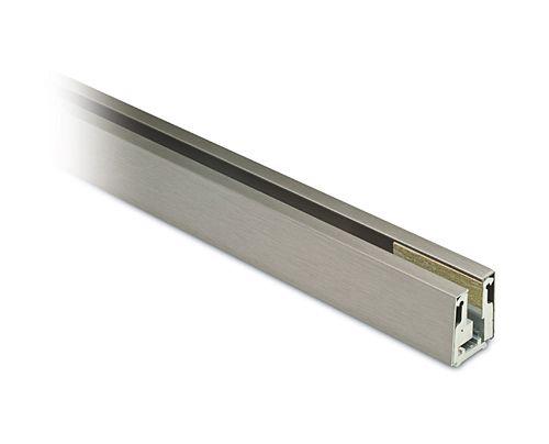 Alu Glasprofil 41mm - Edelstahleffekt - Glas 10-10,76mm - Zuschnitt