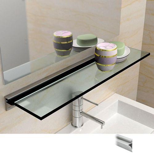 Glasplattenprofil Set 6100 - Alu Edelstahleffekt - Länge 100cm