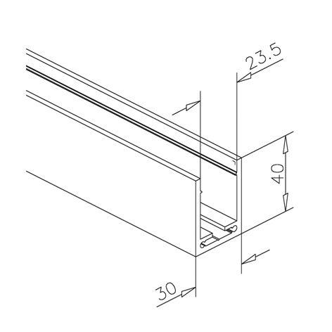 u profil 40x30x40mm aluminium schwarz matt l nge 250cm. Black Bedroom Furniture Sets. Home Design Ideas