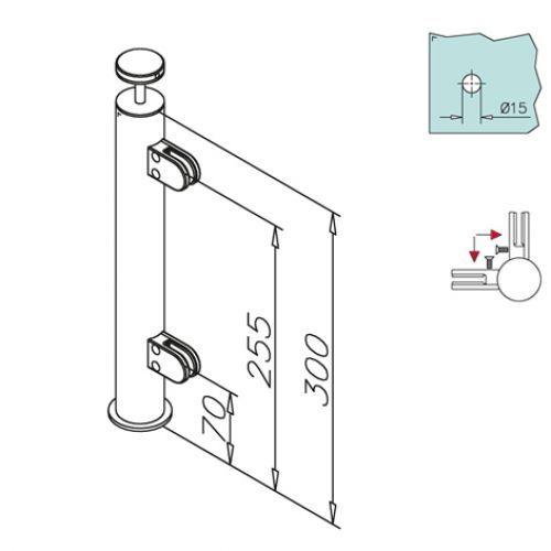 edelstahl vierkant reling eckst tze holzmontage. Black Bedroom Furniture Sets. Home Design Ideas