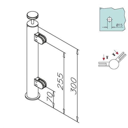 edelstahl vierkant reling mittelst tze holzmontage. Black Bedroom Furniture Sets. Home Design Ideas