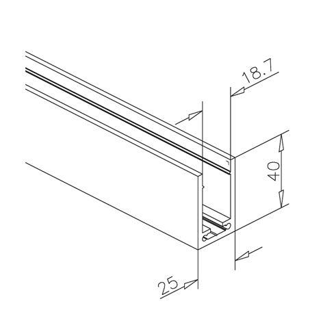 alu u profil 40x25x40mm edelstahleffekt zuschnitt. Black Bedroom Furniture Sets. Home Design Ideas