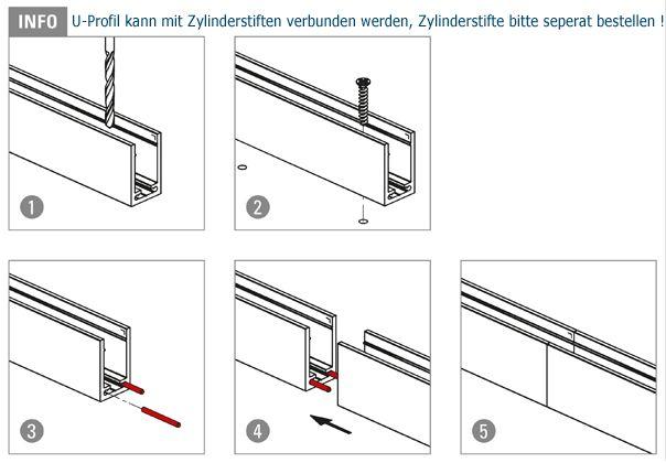 u profil 40x25x40mm aluminium roh l nge 250cm. Black Bedroom Furniture Sets. Home Design Ideas