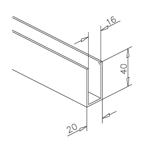 u profil 40x20x40mm aluminium anthrazit l nge 200 cm. Black Bedroom Furniture Sets. Home Design Ideas