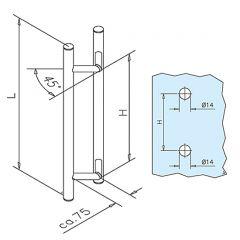 Edelstahl Türgriff beidseitig Modell 81100 - 25,4 mm - Grifflänge 500 mm
