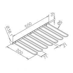 Messing Design matt - Gläserhalter 300 mm - 6 fach