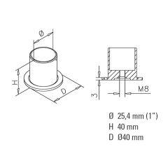 Messing matt Design Rohr 25,4 mm Rohrbefestigungshülse