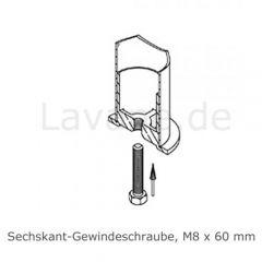 Hustenschutz Pfosten 20-130-25 links - Rohr Ø 25.4 mm - Anthrazit Design