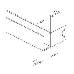 Alu U-Profil 30x20x30mm silber matt eloxiert - ganze Länge 200 cm