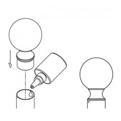 Chrom Design Rohr 25,4 mm Endkugel