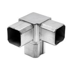 Edelstahl Rohrverbinder Vierkantrohr 35x35 mm - 3x90°