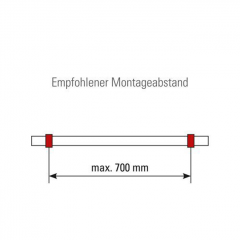 Messing matt Design Rohrhalter gewölbt für Rohr 25,4 mm