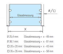 Hustenschutz Pfosten 20x20 - 20-13220 rechts - Edelstahl matt Design