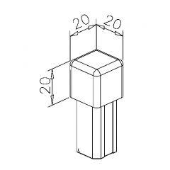 Endkappe Würfel für Edelstahl Vierkantrohr 20x20mm