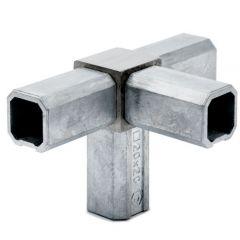 Edelstahl Rohrverbinder Vierkantrohr 20x20 mm - 4x90°