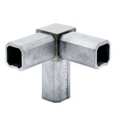 Edelstahl Rohrverbinder Vierkantrohr 20x20 mm - 3x90°