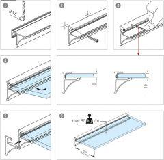 Glasplattenprofil Alu poliert 50x40 mm - Zuschnitt
