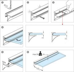 Endkappen für Glasplattenprofil Kunststoff - Paar