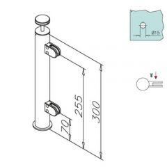 Hustenschutz Pfosten 20-110-25 links - Rohr Ø 25.4 mm - Messing matt Optik
