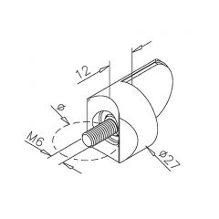 Edelstahl Design Anschlag-Adapter - Glas 4-9 mm - Rohr 38.1 mm
