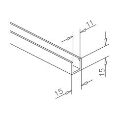 Alu U-Profil 15x15x15mm Chrom Design - ganze Länge 200 cm