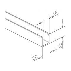 Alu U-Profil 20x20x20mm Edelstahl Design - ganze Länge 200 cm