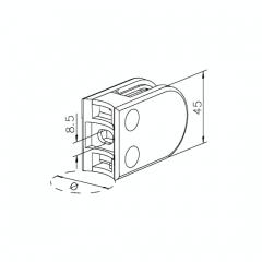 Messing matt Design Glasklemme 22 - Rohr 50,8 mm - Glas 6-10mm