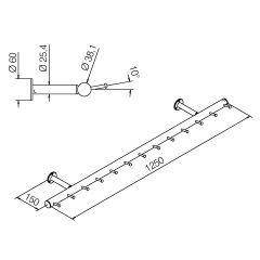 Wurstgehänge 20-7100-125 - Rohr Ø 38.1 mm - Edelstahl Design - 1.250 mm