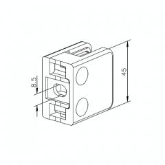 Messing Design Glasklemme - 21 - Flachmontage - Glas 6-10 mm
