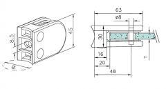 Messing Design Glasklemme - 22 - Rohr 50,8 mm - Glas 6-10 mm