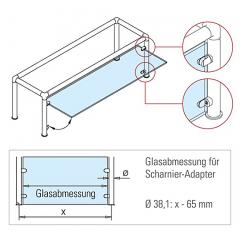 Messing matt Design Scharnier-Adapter - Glas 4-9 mm - Wandmontage