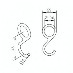 Messing matt Design Relinghaken für Rohr 19,0 mm