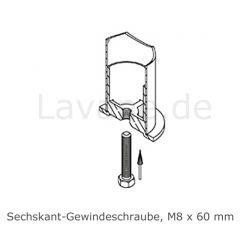 Hustenschutz Pfosten 20-131-25 -45° - Rohr Ø 25.4 mm - Edelstahl Design