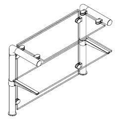 Hustenschutz Pfosten 20-131-25 -90° - Rohr Ø 25.4 mm - Edelstahl Design