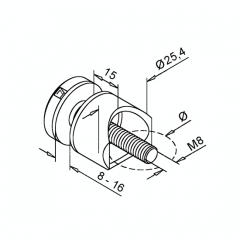 Glasmontageadapter Messing matt Design - Glas 8-16 mm - Rohr 38.1 mm