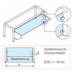 Messing matt Design Anschlag-Adapter - Glas 4-9 mm - Rohr 25.4 mm