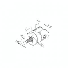 Messing matt Design Scharnier-Adapter - Glas 4-9 mm - Rohr Ø 38.1 mm