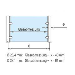 Hustenschutz Pfosten 20-120-25 mitte - Rohr Ø 25.4 mm - Chrom Design
