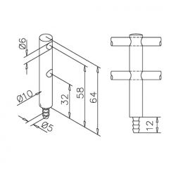 Edelstahl DS Mittelstütze doppelt Stab 6mm Holzmontage