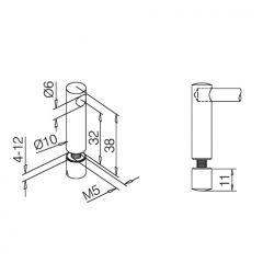 Edelstahl Design Endstütze für Stab 6 mm Glasmontage