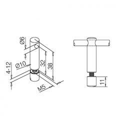 Edelstahl Design Mittelstütze für Stab 6 mm Glasmontage