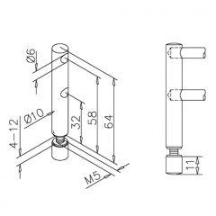 Edelstahl DS Endstütze doppelt Stab 6 mm Glasmontage