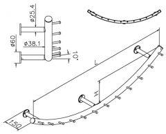 Wurstgehänge 20-7110-125 - Rohr Ø 38.1 mm - Chrom Design - 1.250 mm