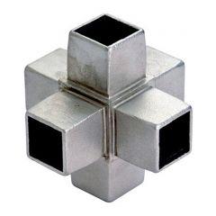Edelstahl Rohrverbinder Vierkantrohr 40x40 mm - 6x90°