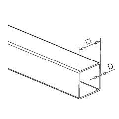 Edelstahl matt Vierkant Rohr 8x8mm - ganze Länge 200 cm
