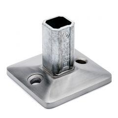 Edelstahl Vierkant Boden- und Wandflansch für Rohr 20x20 mm
