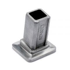 Edelstahl Vierkant 20x20 mm Rohrbefestigungshülse 80°