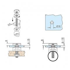 Glasbefestigungsadapter Messing Design - Glas 8-16 mm - Wandmontage