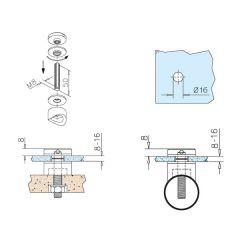 Glasbefestigungsadapter Messing Design - Glas 8-16 mm - Rohr 38.1 mm